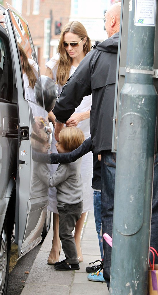 Angelina Jolie and Knox Jolie-Pitt held onto each other.