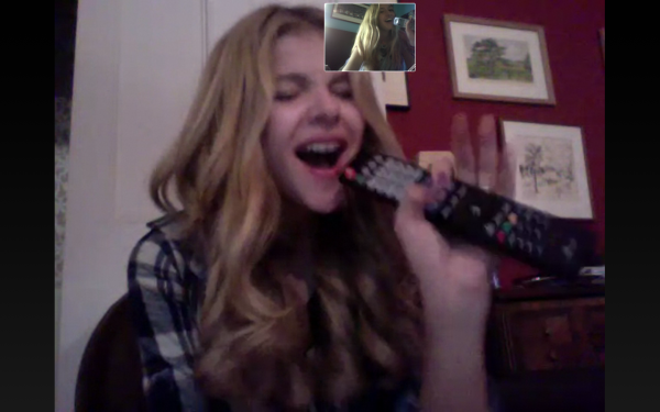 Chloe Moretz sang while Skyping with her friend Chloe McClay.