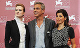 Marisa Tomei, George Clooney, Evan Rachel Wood at The Ides of March photo call.
