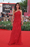 Cindy Crawford wears red at the Venice Film Festival.