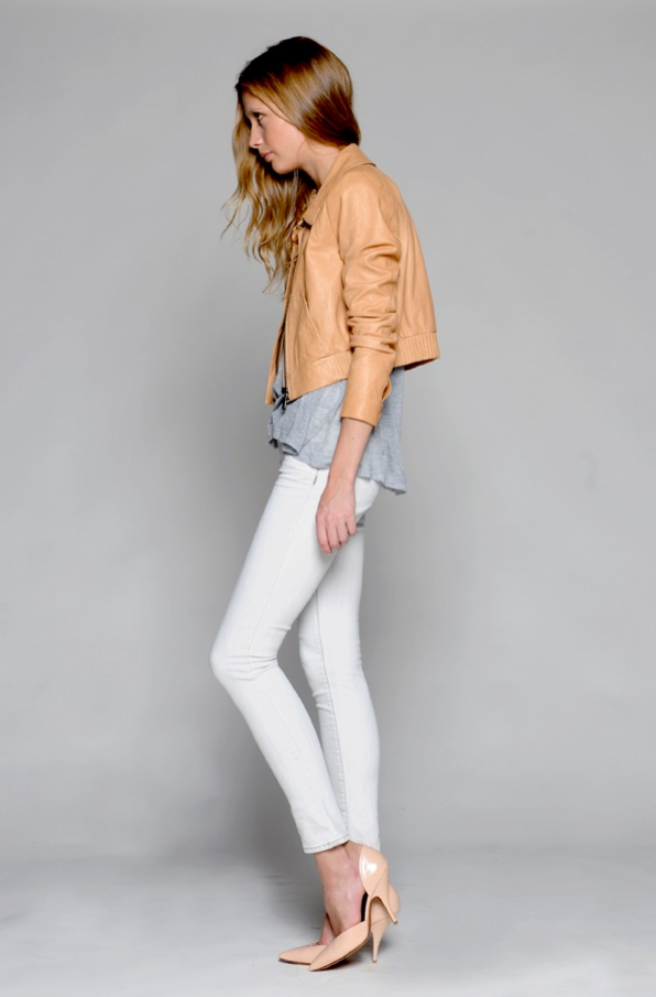 Lambskin bomber jacket, microModal jersey tee, and cotton denim jeans.