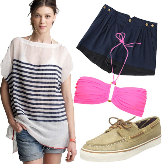 The perfect weekend boat trip outfit.  Lemlem Grace Tunic ($175), Rag & Bone Barnet Short ($255), Sperry Suede Metallic Top-Sider Women's Bahama Sneaker ($75), Eda Bahia Bikini Top ($145)