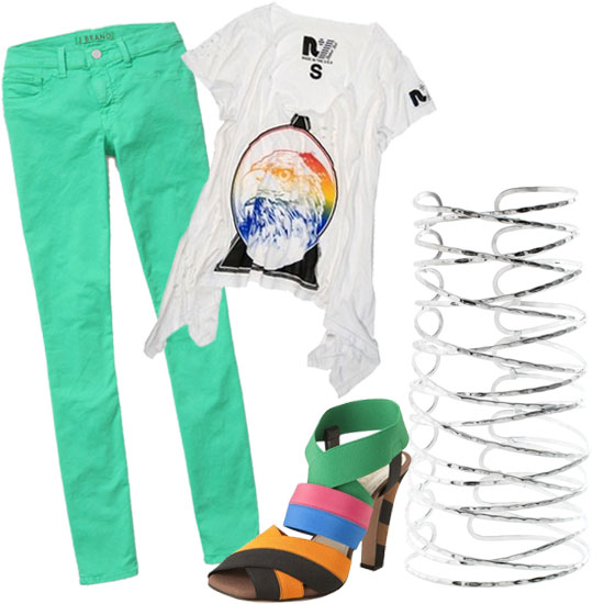 A casual cool outfit for bar hopping and crazy last-weekend-before-Fashion-Week behavior. J Brand Green Skinny Jeans ($176), Rebel Yell Eagle Hankie Tee ($69), Prada Multicolor Elastic Sandal ($476), ASOS Hammered Effect Wired Metal Cuff ($27)