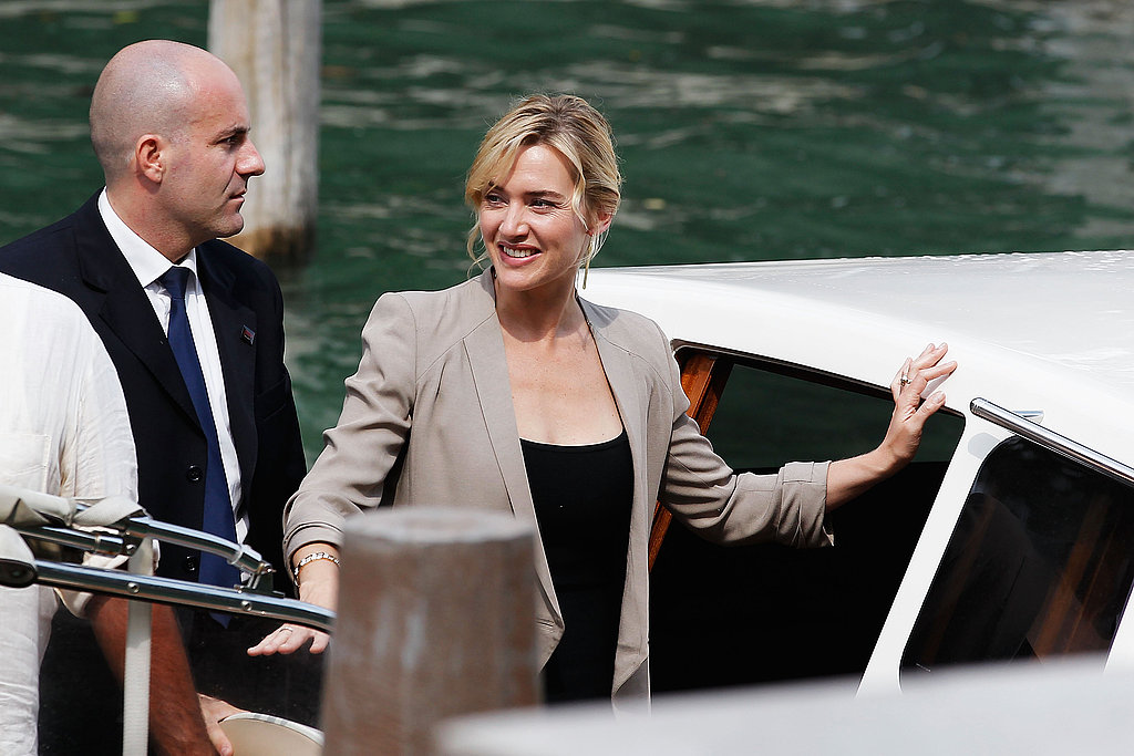 Kate Winslet hops off a water taxi at the Venice Film Festival.