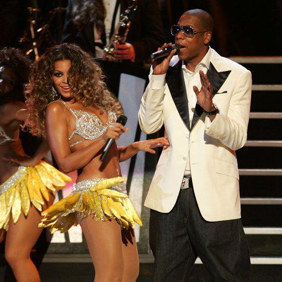 Beyoncé Knowles and Jay Z shared the stage during September 2009's Fashion Rocks Concert in NYC's Radio City Music Hall.