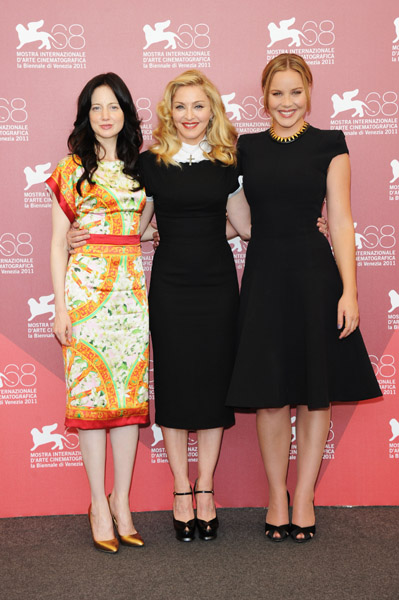 Madonna, Andrea Riseborough, and Abbie Cornish in Venice.
