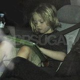 Shiloh Jolie-Pitt plays with her iPad.
