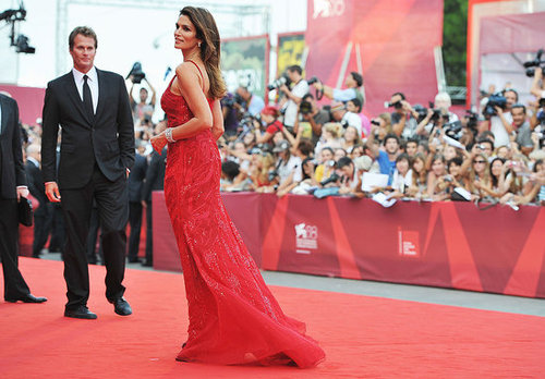 Cindy Crawford Goes Glam in a Red Roberto Cavalli at the Venice Film Festival