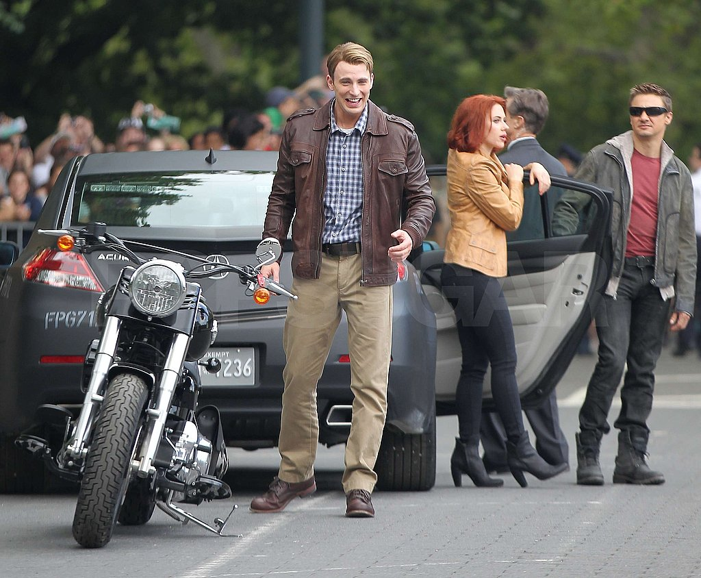 Scarlett Johansson teamed up with Chris Evans and Jeremy Renner.