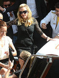 Madonna leaves her Venice hotel.