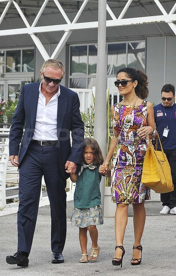Birthday Girl Salma Hayek Arrives in Venice With Francois-Henri and Valentina