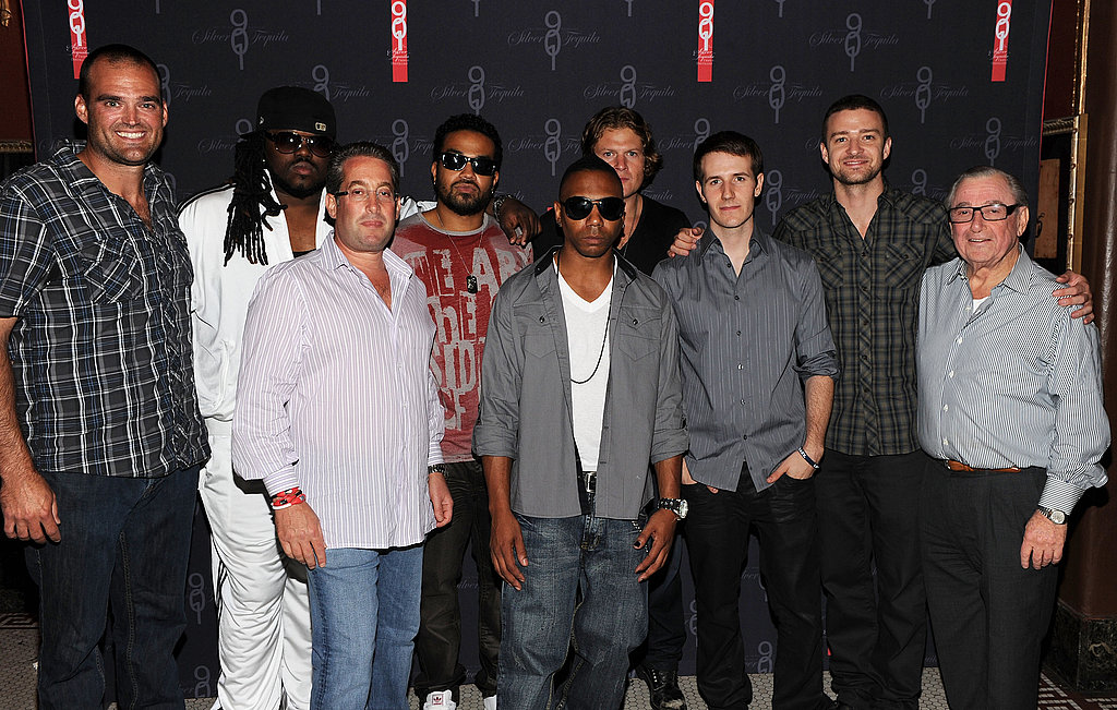 Justin Timberlake with friends and collegaues Kevin Ruder, Marc Taub, Free, Kickman Teddy, Elliott Ives, Charlie White.