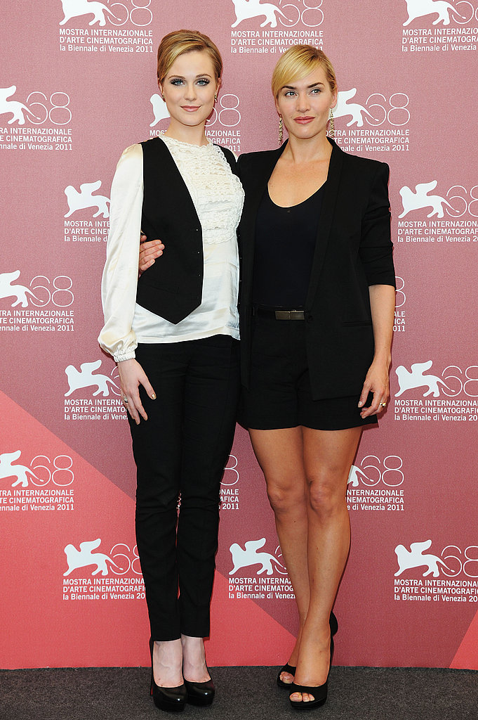 Kate Winslet and Evan Rachel Wood at a photocall for Mildred Pierce.
