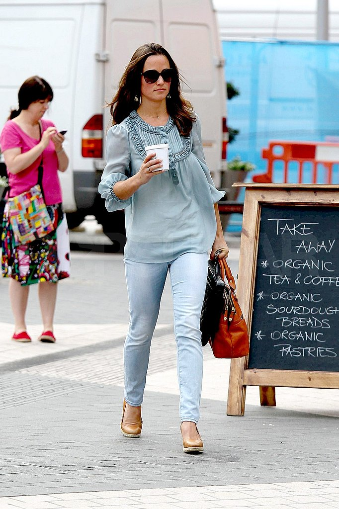Pippa Middleton in heels and jeans.