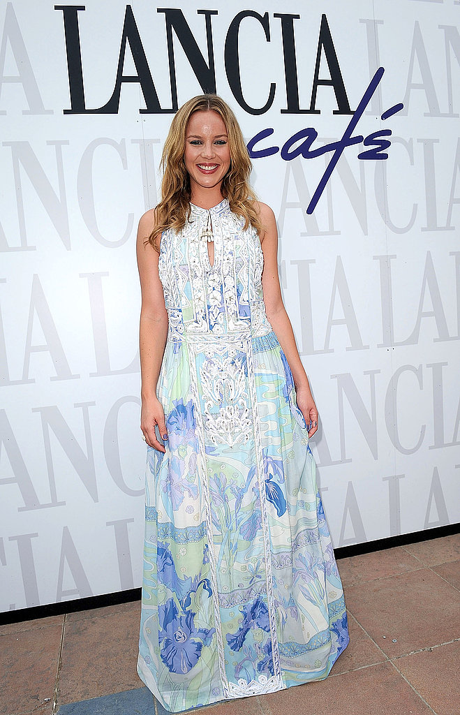 Abbie Cornish donned a long, print maxidress at the Lancia Cafe.