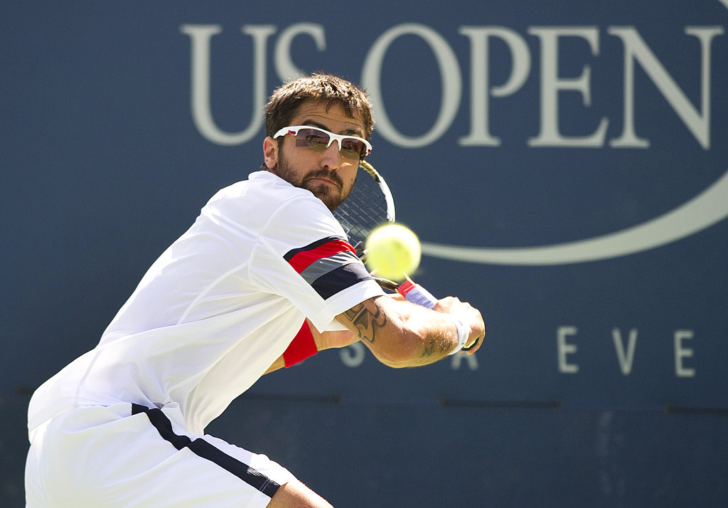 Janko Tipsarevic of Serbia sports his shades against Germany's Philipp Petzschner last Thursday.