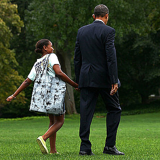 President Obama and Sasha Obama Holding Hands