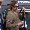 Brad Pitt Pictures Landing in London in a Helicopter