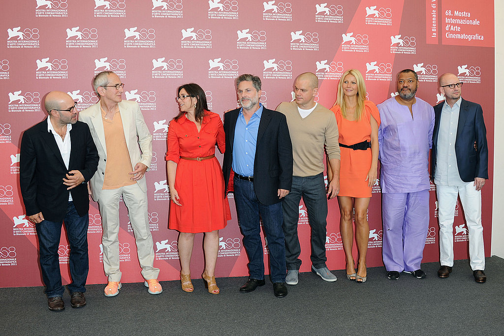 Scott Z. Burns, producers Michael Shamberg, Stacey Sher, and Gregory Jacobs and actors Matt Damon, Gwyneth Paltrow, Laurence Fishburne, and director Steven Soderbergh in Venice.