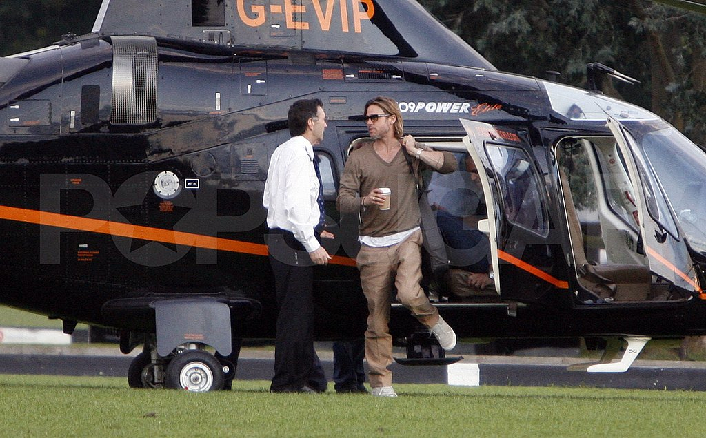 Brad Pitt touches down.