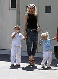 Gwen Stefani with her boys in LA.