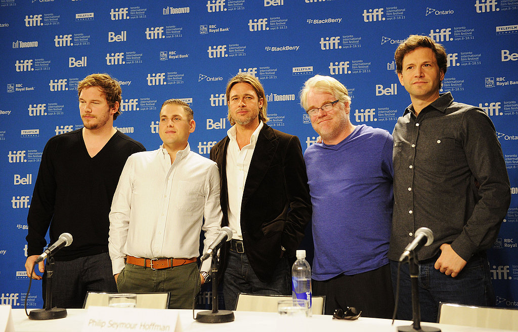 The cast of Moneyball stood for a group picture.