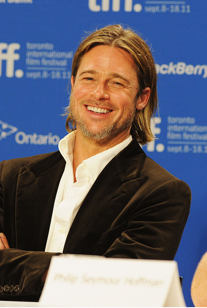 Brad Pitt sparkled when speaking about the film.