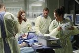 Sarah Drew as Dr. April Kepner, Justin Chambers as Dr. Alex Karev, and Sandra Oh as Dr. Cristina Yang on Grey's Anatomy.  Photo copyright 2011 ABC, Inc.