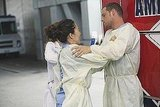 Sandra Oh as Dr. Cristina Yang and Justin Chambers as Dr. Alex Karev on Grey's Anatomy.  Photo copyright 2011 ABC, Inc.