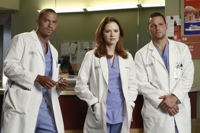 Sarah Drew as Dr. April Kepner, Justin Chambers as Dr. Alex Karev, and Jesse Williams as Dr. Jackson Avery on Grey's Anatomy.  Photo copyright 2011 ABC, Inc.