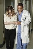 Ellen Pompeo as Dr. Meredith Grey and Justin Chambers as Dr. Alex Karev on Grey's Anatomy.  Photo copyright 2011 ABC, Inc.