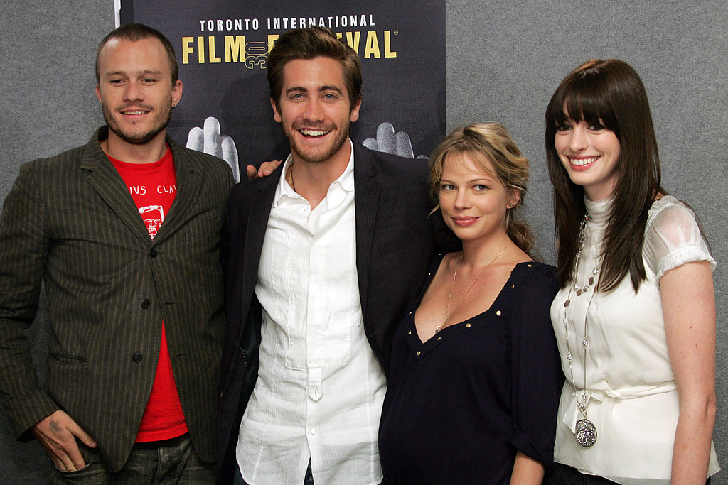 Brokeback Mountain cast members Heath Ledger, Jake Gyllenhaal, Michelle Williams, and Anne Hathaway dressed casual for the movie's 2005 press conference.
