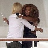 Gwyneth Paltrow and Beyoncé Knowles hug in Venice.