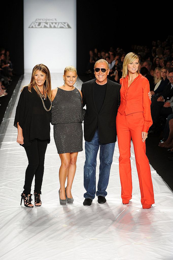 Nina Garcia, Jessica Simpson, Michael Kors, and Heidi Klum took the runway at the Project Runway fashion show in September 2010.
