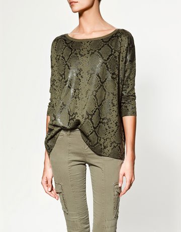 Zara Snakeskin Printed Sweater ($80)