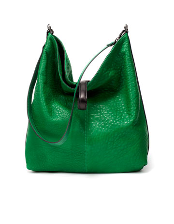 Zara Large Green Leather Bag ($169)