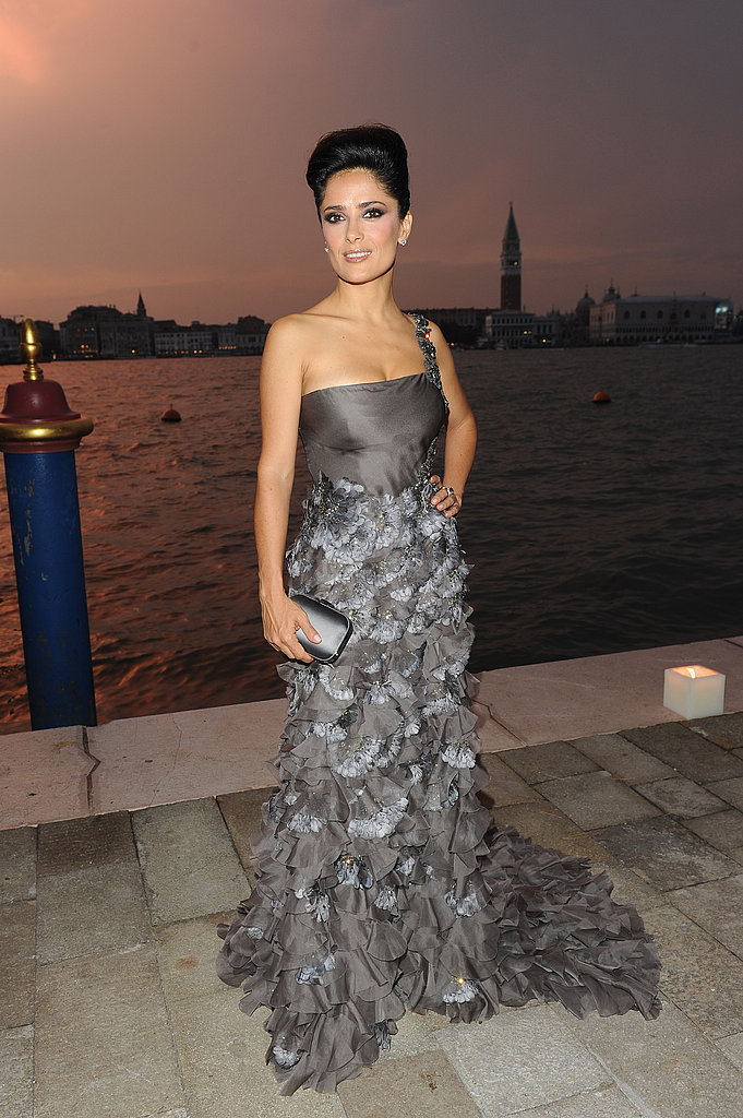Salma Hayek wore a silver ruffled Gucci creation at the Gucci Award For Women in Cinema event.
