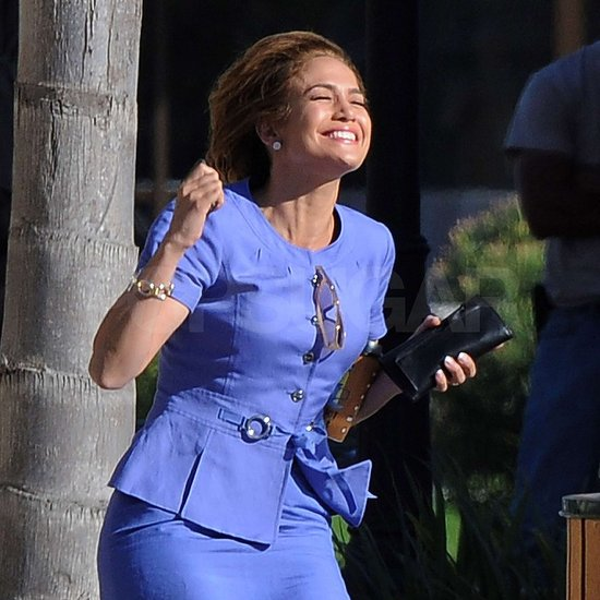 Jennifer Lopez smiled in the sun at work.