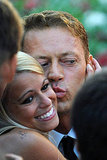 Italian actor Rocco Siffredi kisses a fan at the Tinker, Tailor, Soldier, Spy screening.