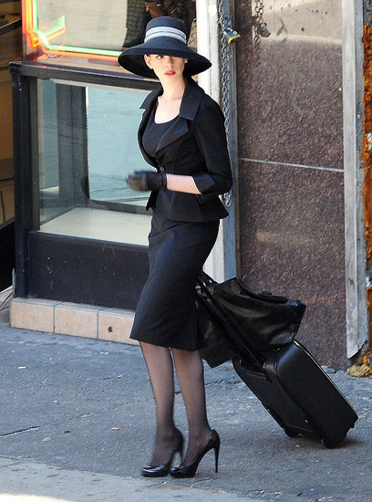 Anne Hathaway in all black.