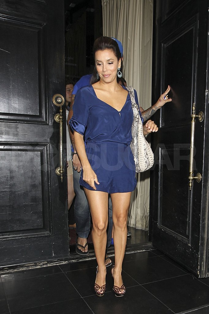 Eva wore a cute blue romper.