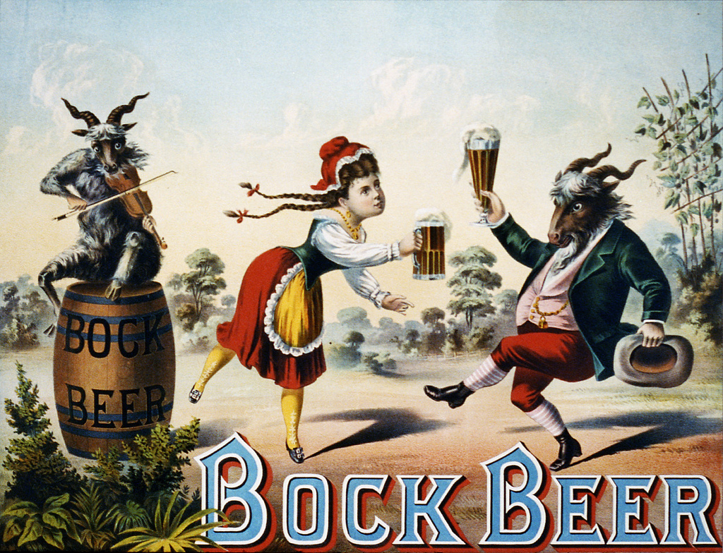 In this 1882 ad, a bar maid enjoys a stein of Bock Beer with her pal — a dressed-up goat.