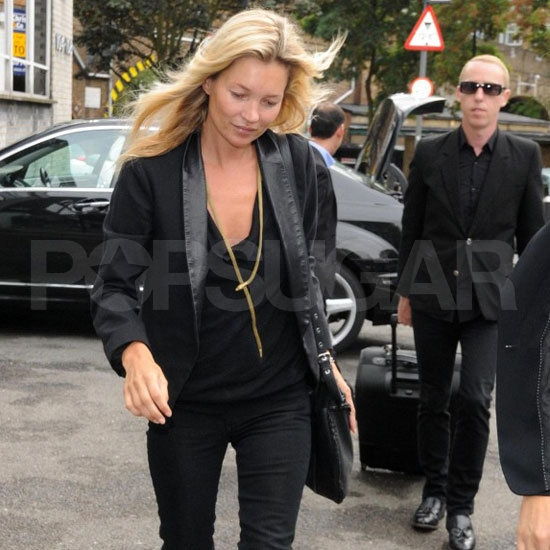 Kate Moss wears all black in London.