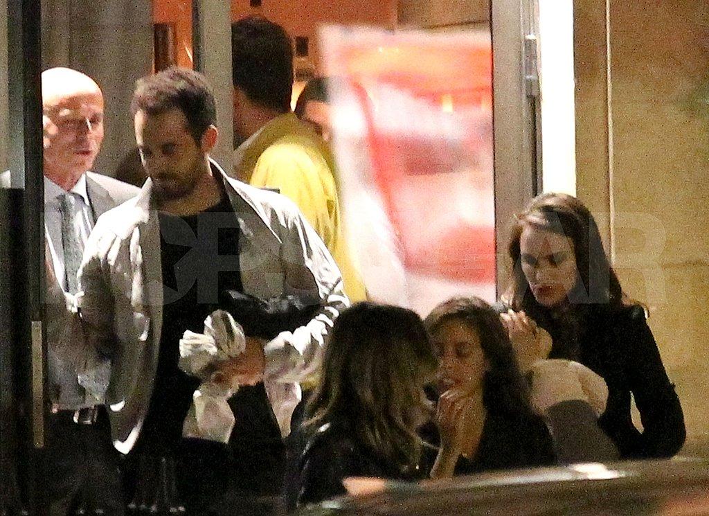 Natalie Portman and Benjamin Millepied leave dinner.
