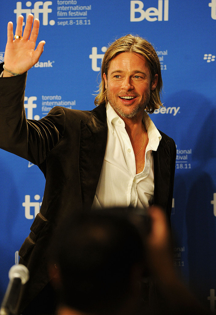 Brad Pitt waved to the crowd.