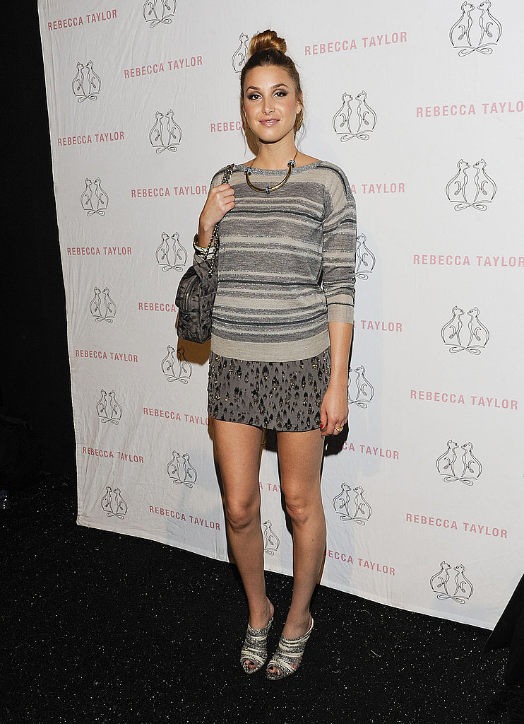 Whitney Port rocks a cool, muted, mixed-prints look at Rebecca Taylor.