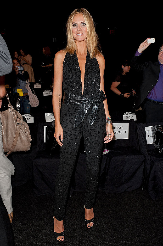 Heidi Klum opted for a black jumpsuit at the Project Runway show.