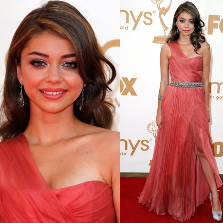 Pictures of Sarah Hyland in Christian Siriano gown on the red carpet at the 2011 Emmy Awards