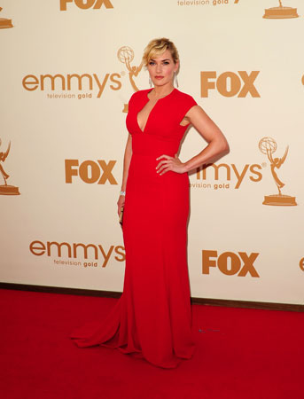 Kate Winslet, who is nominated for an Emmy for her role in Mildred Pierce, wore red.
