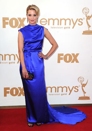 Glee's Dianna Agron wore won of the brighter dresses of the night.